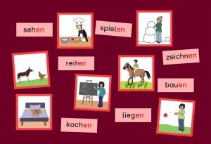 Wort-Bild-Karten Zeitwörter